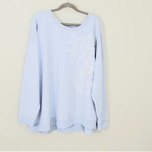 Lane Bryant Light Blue & White Sweatshirt Sz 26/28